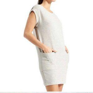 Athleta Gray & Cream Ease Up Cap Sleeve Dress M